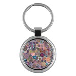 Ornamental Mosaic Background Key Chains (Round)  Front