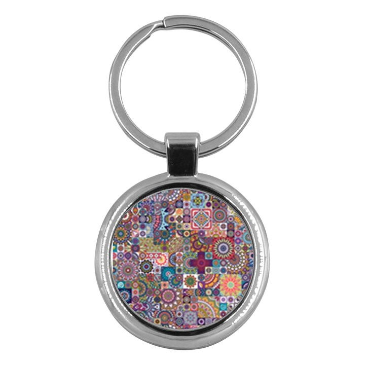 Ornamental Mosaic Background Key Chains (Round)