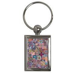 Ornamental Mosaic Background Key Chains (rectangle)