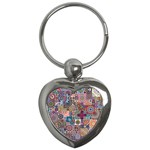 Ornamental Mosaic Background Key Chains (Heart)  Front