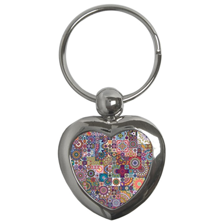 Ornamental Mosaic Background Key Chains (Heart)