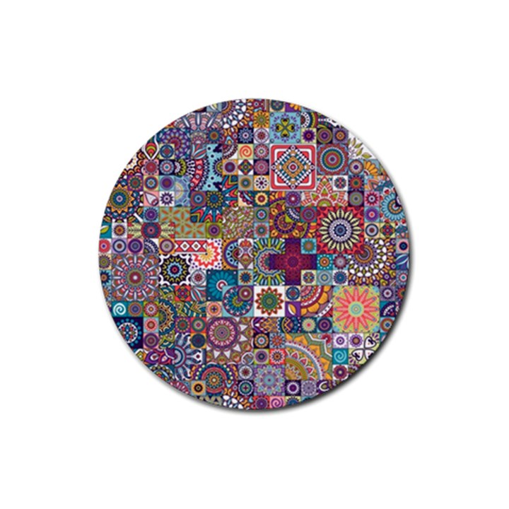 Ornamental Mosaic Background Rubber Coaster (Round)