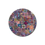 Ornamental Mosaic Background Rubber Round Coaster (4 pack)  Front