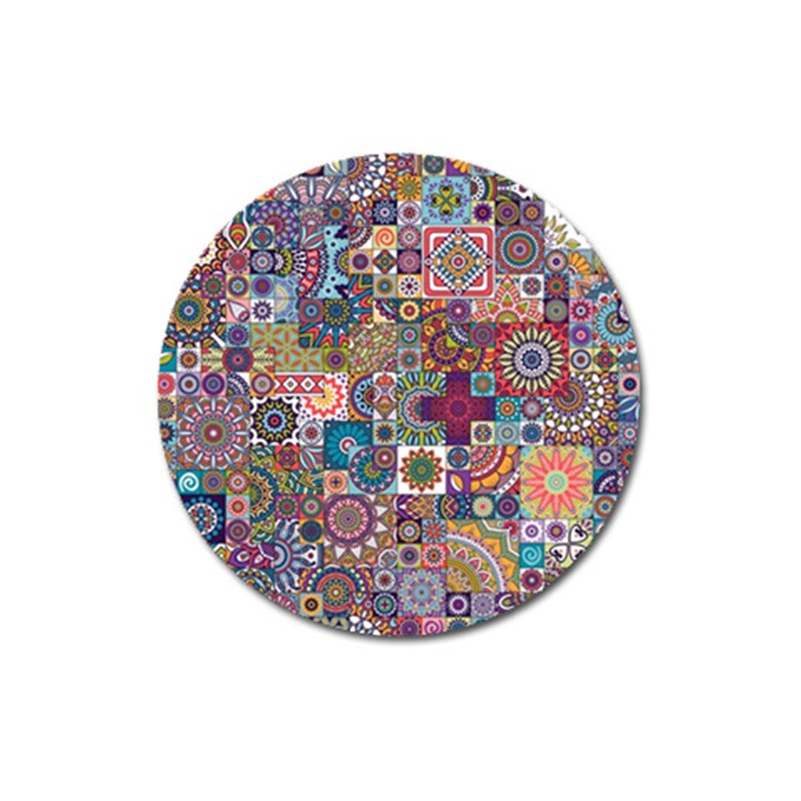 Ornamental Mosaic Background Magnet 3  (Round)