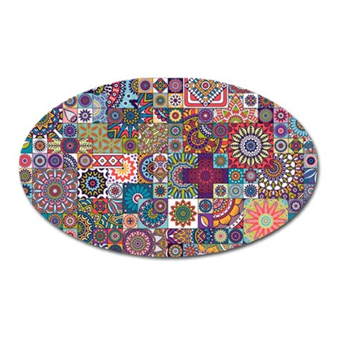 Ornamental Mosaic Background Oval Magnet