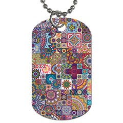 Ornamental Mosaic Background Dog Tag (one Side)