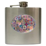 Ornamental Mosaic Background Hip Flask (6 oz) Front