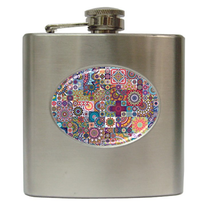 Ornamental Mosaic Background Hip Flask (6 oz)