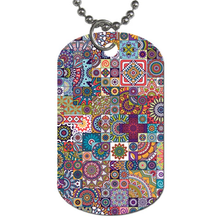 Ornamental Mosaic Background Dog Tag (Two Sides)