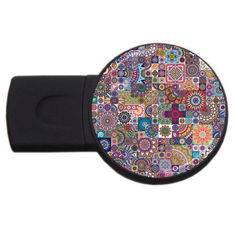 Ornamental Mosaic Background USB Flash Drive Round (1 GB)