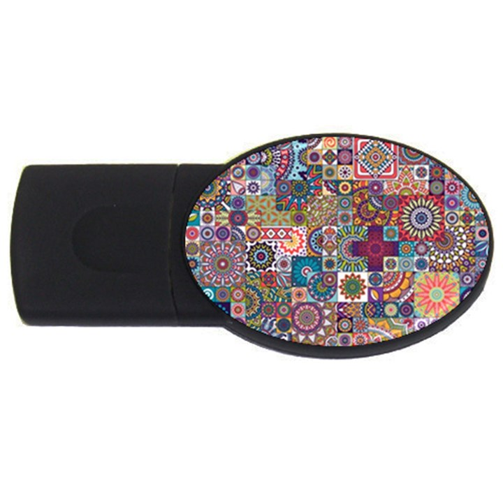 Ornamental Mosaic Background USB Flash Drive Oval (2 GB)