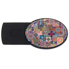 Ornamental Mosaic Background USB Flash Drive Oval (1 GB)