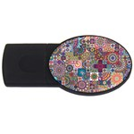 Ornamental Mosaic Background USB Flash Drive Oval (1 GB)  Front