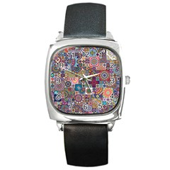 Ornamental Mosaic Background Square Metal Watch