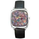 Ornamental Mosaic Background Square Metal Watch Front
