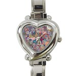 Ornamental Mosaic Background Heart Italian Charm Watch Front