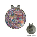 Ornamental Mosaic Background Hat Clips with Golf Markers Front