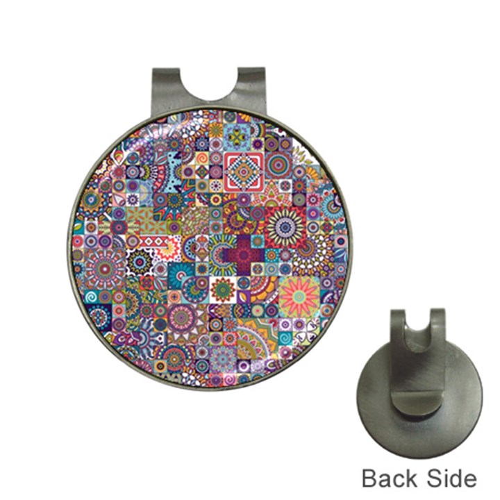 Ornamental Mosaic Background Hat Clips with Golf Markers