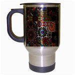 Ornamental Mosaic Background Travel Mug (Silver Gray) Left