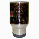 Ornamental Mosaic Background Travel Mug (Silver Gray) Center