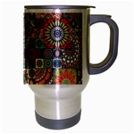 Ornamental Mosaic Background Travel Mug (Silver Gray) Right