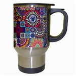 Ornamental Mosaic Background Travel Mugs (White) Right