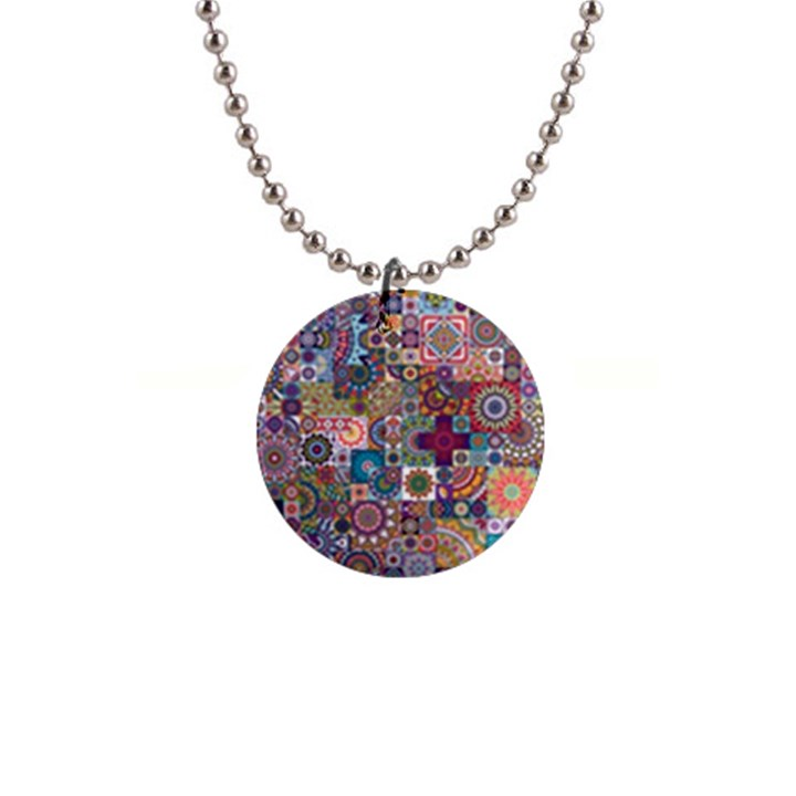 Ornamental Mosaic Background Button Necklaces