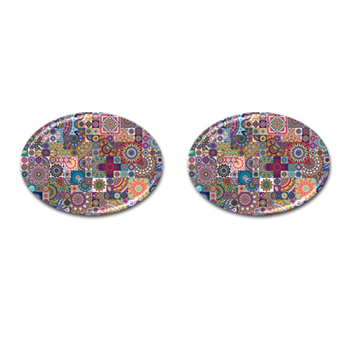 Ornamental Mosaic Background Cufflinks (Oval)