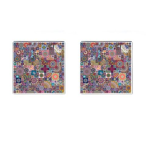 Ornamental Mosaic Background Cufflinks (Square)