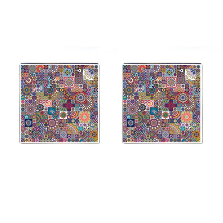 Ornamental Mosaic Background Cufflinks (Square)