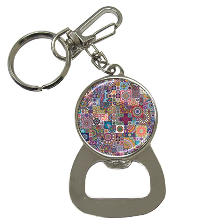 Ornamental Mosaic Background Bottle Opener Key Chains