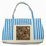 Ornamental Mosaic Background Striped Blue Tote Bag Front
