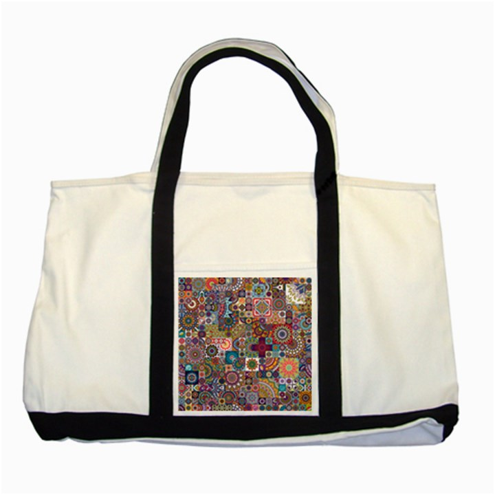 Ornamental Mosaic Background Two Tone Tote Bag