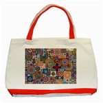 Ornamental Mosaic Background Classic Tote Bag (Red) Front