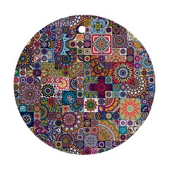 Ornamental Mosaic Background Round Ornament (Two Sides)