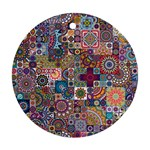 Ornamental Mosaic Background Round Ornament (Two Sides)  Back