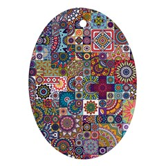 Ornamental Mosaic Background Oval Ornament (Two Sides)