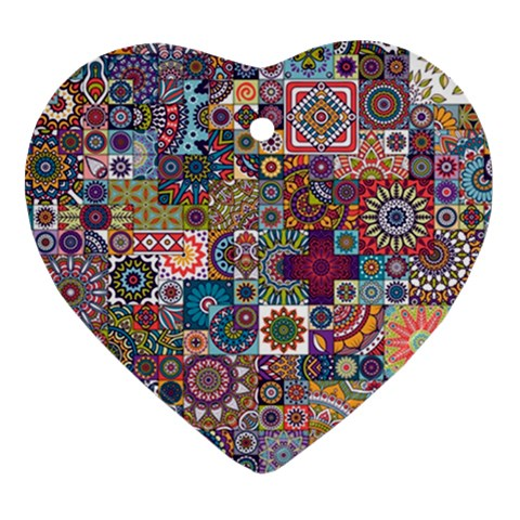 Ornamental Mosaic Background Heart Ornament (2 Sides)