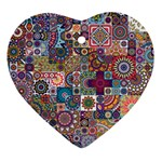 Ornamental Mosaic Background Heart Ornament (2 Sides) Back