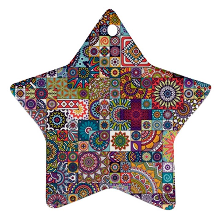 Ornamental Mosaic Background Star Ornament (Two Sides)