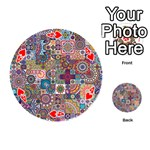 Ornamental Mosaic Background Playing Cards 54 (Round)  Front - Heart4