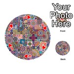 Ornamental Mosaic Background Playing Cards 54 (Round)  Front - Heart6