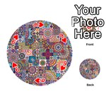 Ornamental Mosaic Background Playing Cards 54 (Round)  Front - Heart9