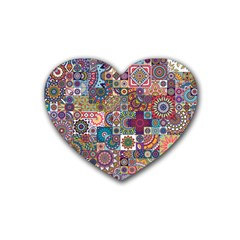 Ornamental Mosaic Background Heart Coaster (4 pack)
