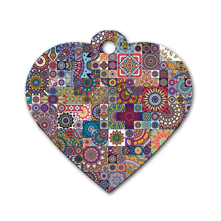 Ornamental Mosaic Background Dog Tag Heart (One Side)