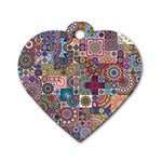 Ornamental Mosaic Background Dog Tag Heart (Two Sides) Back