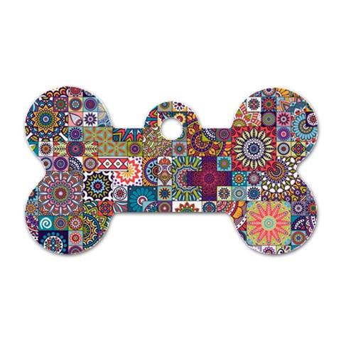 Ornamental Mosaic Background Dog Tag Bone (Two Sides)