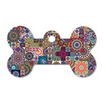 Ornamental Mosaic Background Dog Tag Bone (Two Sides) Front