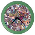 Ornamental Mosaic Background Color Wall Clocks Front