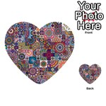 Ornamental Mosaic Background Multi-purpose Cards (Heart)  Front 54